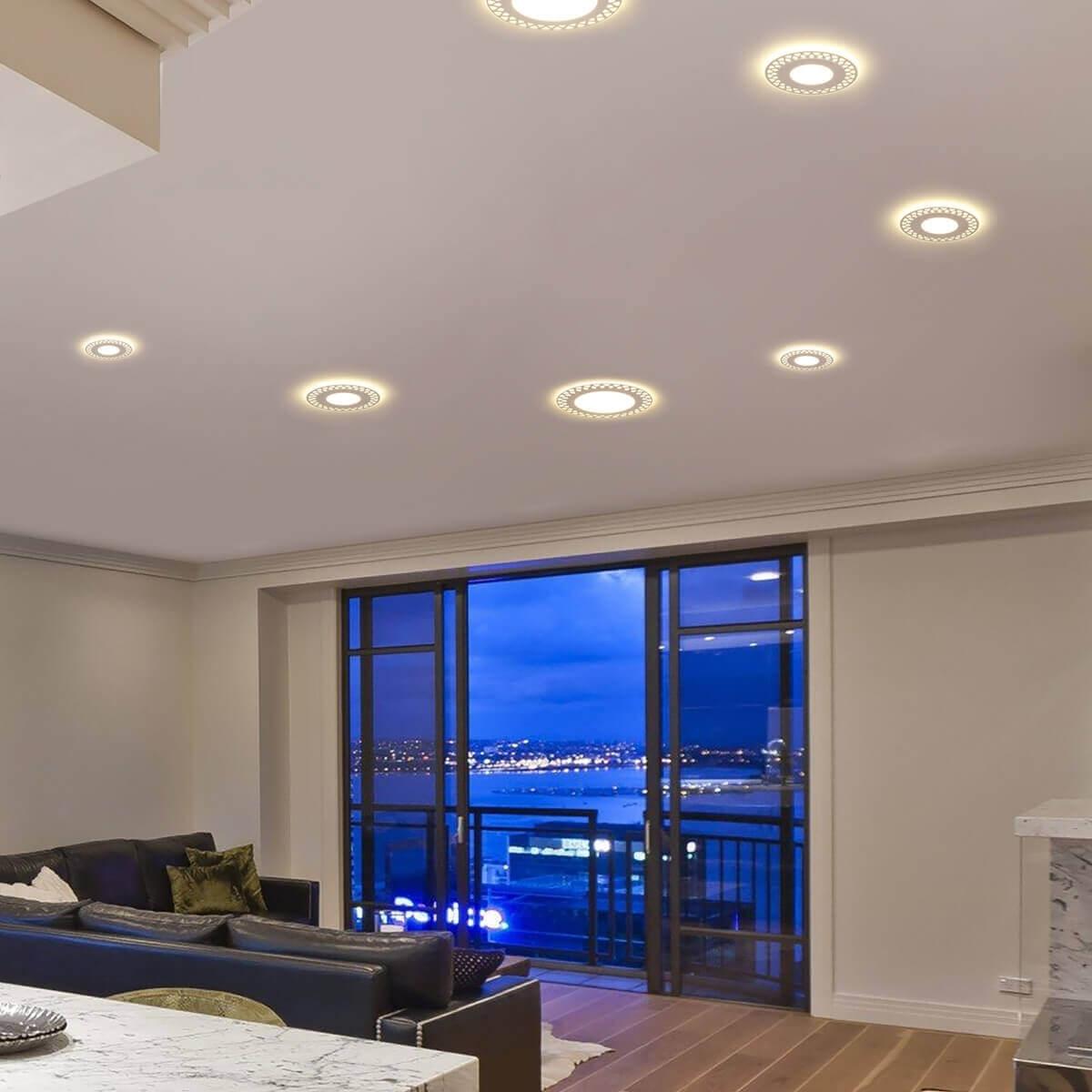 варианты освещения подвесных потолков фото первую